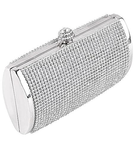 Clorislove Sparkling Diamante Crystal Evening Clutch Wedding Purse Party Prom Bag Box (Silver)