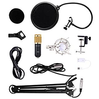 Allright Kondensator Mikrofon Set Kondensator-Lavaliermikrofon USB Kondensator Aufnahme Microphone für Telefon Computer Laptop usw.
