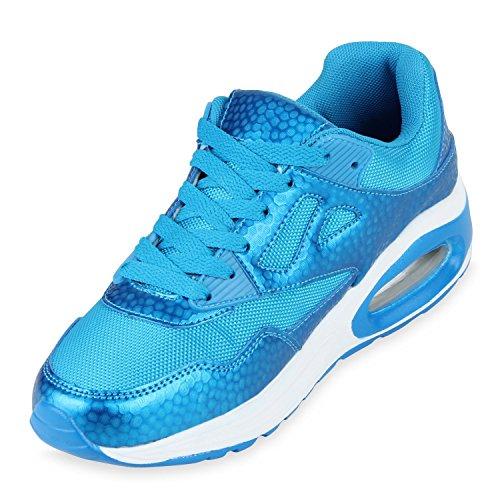 Flache Damen Laufschuhe Profilsohle Bequeme Sportschuhe Blau Camargo