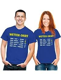 T-Shirt Wettershirt Funshirt blau gelb weiss