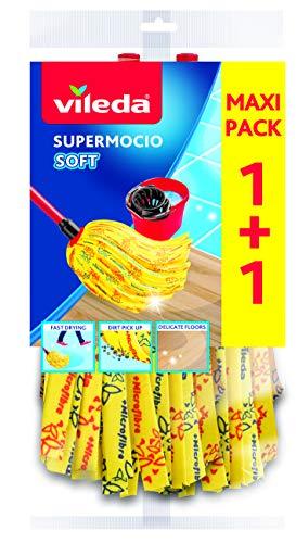 Vileda SuperMocio Soft Ersatzmop - extra starke Saugkraft und 30{fadd0635aa35922491ef888cf5ede6b5f9fa6ef3be8dc2f17012c2e64be22534} Mikrofaseranteil - Doppel-Vorteilspack