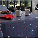Wachstuch-Tischdecke Stern aus 100% Baumwolle Farbe: Denim