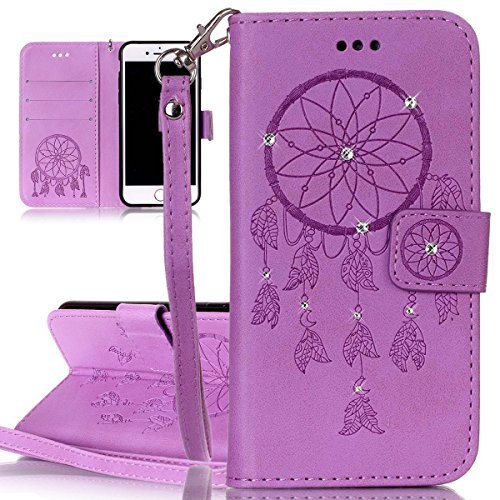 Custodia per Apple iPhone 7, ISAKEN Custodia in Sbalzato Embossed Design PU Pelle Book Folding Case Glitter Bling Cover, Supporto Stand e Porta Carte Integrati Portafoglio Flip Cover con Chiusura Magn deamcatcher:viola