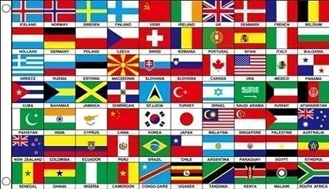 150 X 90 cm 70 Nationen Weltweit Länder 100% Polyester Material Flagge Fahne Ideal Für Club Schule Business Party Dekoration Eurovision Olympische Spiele Weltmeisterschaft Commonwealth Spiele