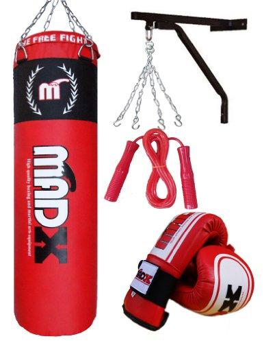 MADX - Juego de boxeo con saco de piel (1,2m), guantes, soporte de p
