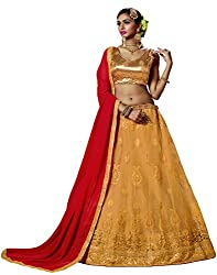 DesiButiks Wedding Wear Pleasant Chickoo Net Designer Lehenga