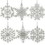 ShalinIndia Set aus 6 handgefertigten Schneeflocken, Verzierungaus Eisen und Glas zum Aufhängen 15 cm