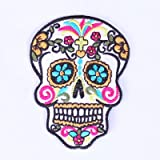 Ecusson Patch Badge Applique Crane Tete de Mort Mexicain brodé-rie thermocollant