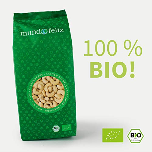 Mundo Feliz Ganze Cashew-Nüsse aus Bio-Anbau, 2 x 500 g