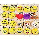 JZK 20 pcs mini jouet en peluche, 5 cm emoji keychain emoji keyring pour enfants et adulte fêtes de fête d'anniversaire, plats de sacs de fête, fournitures pour fêtes décorations