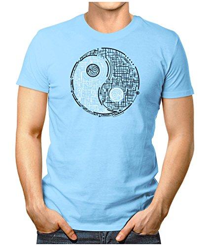 PRILANO Herren Fun T-Shirt - ELECTRIC-YIN-YANG - Small bis 5XL - NEU Hellblau