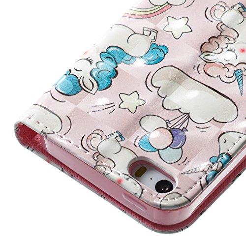 Cover iphone SE 5 5S ,Custodia iphone SE 5 5S, COZY HUT Elegante borsa sollievo Design in Pelle PU Case Cover Protettiva Flip Portafoglio Case Cover Protezione Caso per iphone SE 5 5S / con Supporto d Unicorno rosa