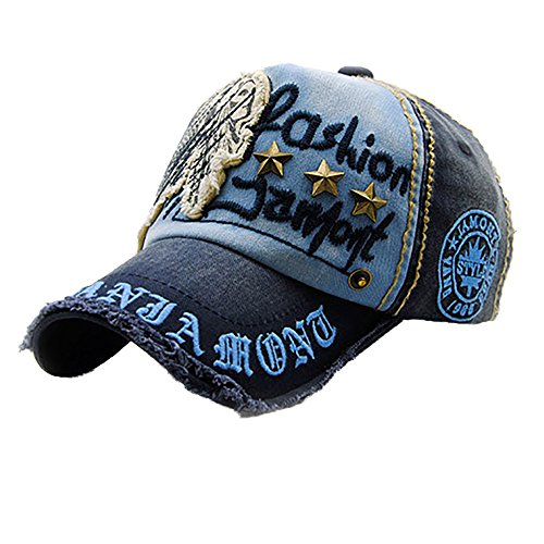 ZEELIY Unisex Baumwolle hochwertige bestickte Baseball Caps einstellbar gestickter Denim-Buchstabe-Hut Retro Cap Vintage Basecap Motors Racing Motorcycle Snap Back Baseballkappe Outdoor