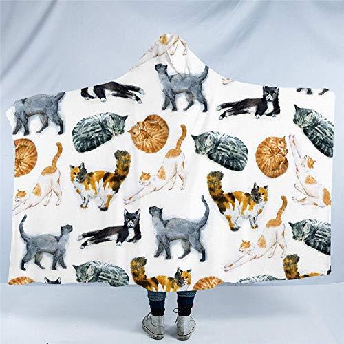 HGTZ Niedliche Katzen mit Kapuze Decke Cartoon Sherpa Fleece Mikrofaser für Kinder Aquarell Haustier werfen Decke Tier Manta (Katze Fleece Decke Werfen)