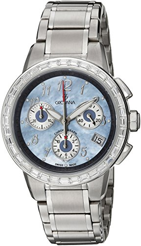 GROVANA 5094.9735 Unisex Quartz Swiss Watch with Mother Of Pearl Dial Chronograph Display and Silver Stainless Steel Bracelet
