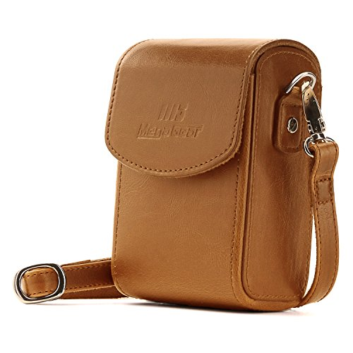 MegaGear Panasonic Lumix DC-ZS200, TZ200, Leica C-Lux Leather Camera Case  with Strap - Light Brown