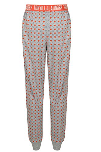 Tokyo Laundry Damen Alice oder Pippy Freizeithose Baumwolle weich Schlafanzug Pyjama Pippy/Grey Red Sky - Hearts