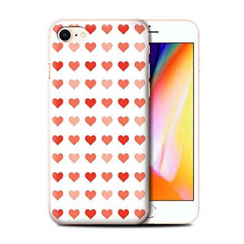 Stuff4 Hülle / Case für Apple iPhone 8 / Rosa Muster / Herz Liebe Schablone Kollektion Rot