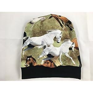 Beanie Mütze Pferde, Digitaldruck, auch gefüttert