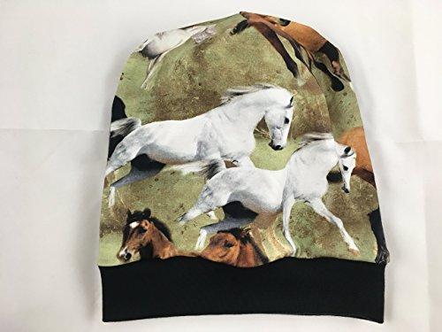 Beanie Mütze Pferde, Digitaldruck, auch gefüttert -