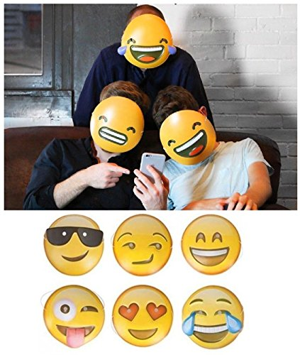 Fantastic 6 x Emoji-Masken Erwachsene Kinder Smiley Icon Face Maske Party Game Fun Photo Shoot UK von Lizzy® (Last Minute Kostüm Ideen Für Erwachsene)