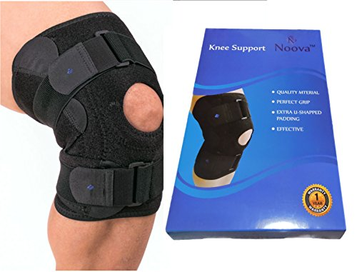 Noova Knee Support Wrap Pads with 3 Velcro Strap, 2 Belt Straps & Soft Open Knee Caps - Black (1 Piece)
