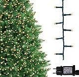 Baum helle Lichter 500 LED warme weiße Baum-Lichter Innen und im Freiengebrauch Timerfunktionen, Netzbetriebene feenhafte Lichter 12.5m / 41ft Lit-Länge GRÜNES KABEL