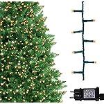 Luci natalizie per interni e esterno 500 LED albero luci bianco caldo, 8 modalità con memoria e funzione timer, alimentate, trasformatore incluso 12,5 m Lunghezza illuminata- CAVO VERDE