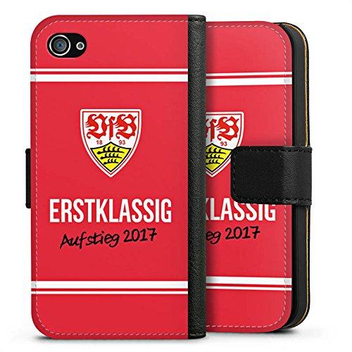Apple iPhone X Silikon Hülle Case Schutzhülle Vfb Stuttgart Aufstieg Fußball Sideflip Tasche schwarz