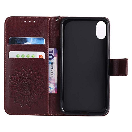 Custodia iPhone X, cmdkd Wallet Custodia Bumper per iPhone X. (Porpora) Marrone