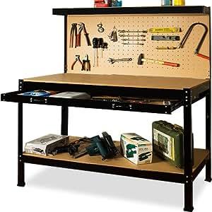 Werkbank mit Werkzeugwand Konstruktion aus Stahl und Holz ...