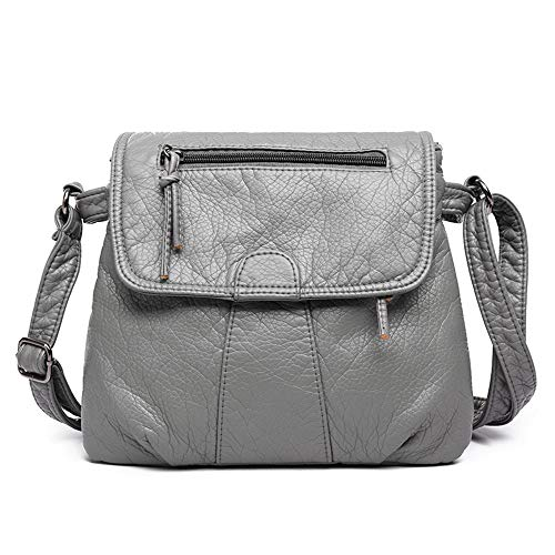 AlwaySky Frauen Crossbody Handtasche Multi Taschen Umhängetasche Soft Washed Leder Geldbörsen Grau - Washed Leder Umhängetasche