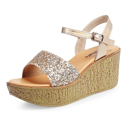 Sandales à talon européens et américains/Paillettes chaussures plate-forme plate semelle épaisse/fashion wedge Sandals B