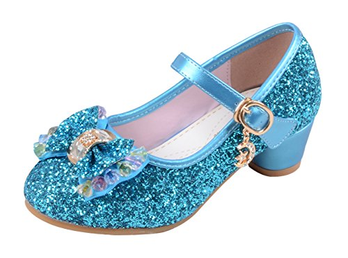 La Vogue Zapatos Zapatilla con Lentejuela Para Niña Princesa Fiesta Azul 27/Longitud Interior 18CM