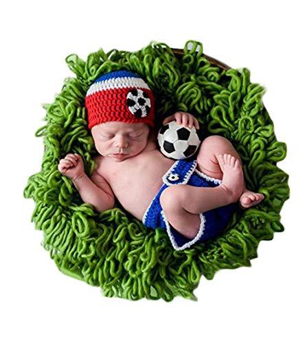 Neugeborenes Baby Mädchen häkeln Kostüm Outfits Fotografie Requisiten Fußball Spieler Outfit Hut+Hose 0-6 Monate