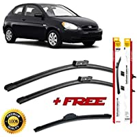 Set of 3 flat blade wiper blades for HYUNDAl ACCENT IV 2010 rear wiper FREE of