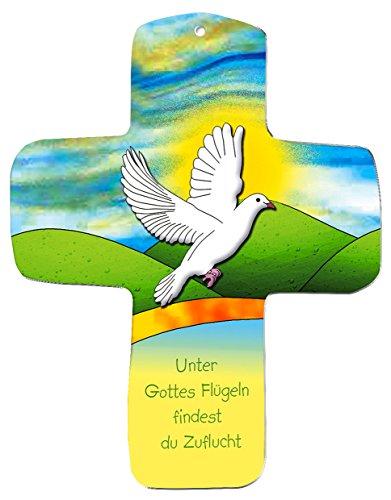 """metalum Premium-Kreuz aus Metall """"Unter Gottes Flügeln findest du Zuflucht"""" zum Aufhängen - sehr schönes, christliches Motiv - auch für Kinder"""