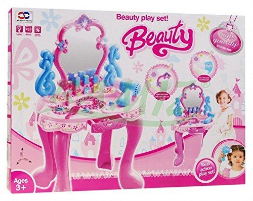 Kinderschminktisch – Frisiertisch – Schminkkommode – Schminktisch – Schminkstudio – Kinderschminktisch Set mit Spiegel, Haartrockner und Zubehör - 3