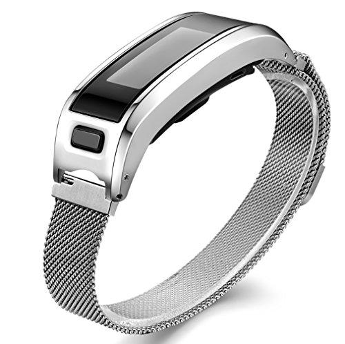 Gocybei - Cinturino di ricambio compatibile con Garmin Vivosmart HR, custodia in metallo con cinturino regolabile, compatibile con Garmin Vivosmart HR, A00 GM-04-Silver