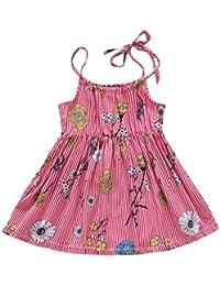 PAOLIAN Vestido para Bebe niñas Verano 2018 Princesa Vestido de la Honda Impresion Florales Sin Manga bautiz Fiestas Sin Tirantes Ropa…