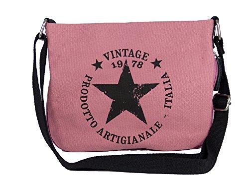 yourlifeyourstyle Coole Canvas Style Umhängetasche - Vintage Stern - Vernietung an der Seite - umlaufender Reißverschluß - Damen Mädchen Teenager Tasche - Für Teenager Mädchen Taschen