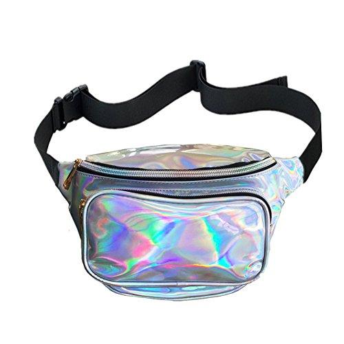 CHAOM Frauen Hologramm Laser Taille Tasche Fashion Wasserdicht glänzend Neon Fanny Pack Bum Bag Travel Geldbörse, Damen, Silber, Color