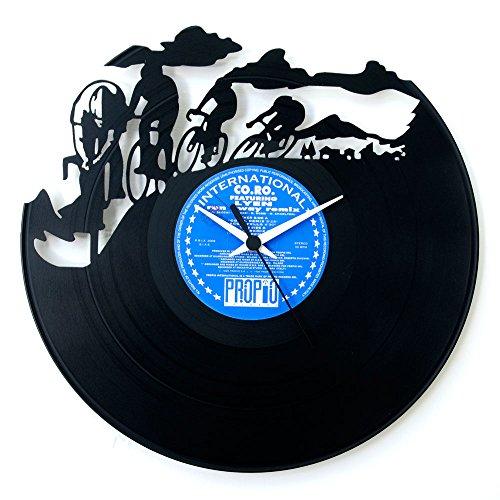 Uhren, Geschenkidee, Mountainbike, Geschenkidee für Radfahrer, Uhr aus Vinyl, Wanduhr, Fahrradzubehör, Giro d\'Italia, Tour de France, original, Vinyluse.