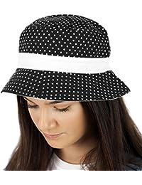 d43fad02a19 TOSKATOK® UPF 50+ Ladies Womens Reversible Cotton Polka Dot Bush Bucket Sun  Hat