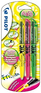 Pilot Frixion Light Erasable Highlighter - Yellow/Pink/Green, Pack of 3