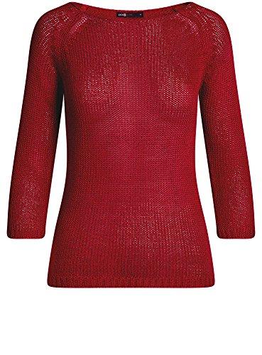 oodji Ultra Damen Pullover Basic mit Rundhalsausschnitt Rot (4500N)