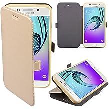 Coque Samsung Galaxy A3 (2016) a Rabat Or - Housse Étui Fin avec Effet Brillant de Moozy® avec Stand Pliant et Support de Téléphone en Silicone