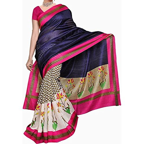 Vedant Vastram Woman's Bhagalpuri Silk Printed Saree With Blouse Piece (Blue & Pink Color Free Size)  available at amazon for Rs.329