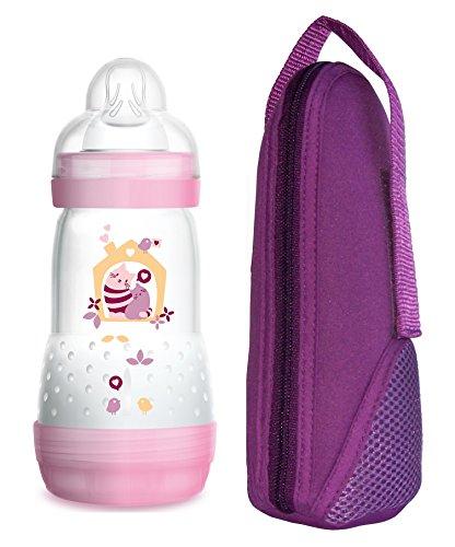 MAM Sparset Anti Colic Flasche 260 ml mit Sauger Größe 1 Mädchen & Thermal Bag Lila