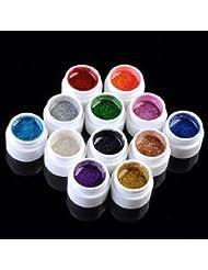 12X Couleur Paillette Glitter Brillant Couverture Gel UV Pour Ongles Manucure Nail Art